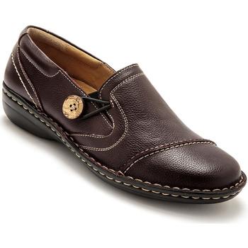Chaussures Femme Mocassins Pediconfort Sans-gêne cuir tannage végétal bordeaux