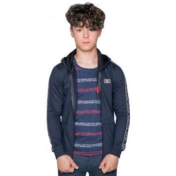 Vêtements Enfant Sweats Deeluxe Sweat  junior zipe à bande bleu marine Bleu