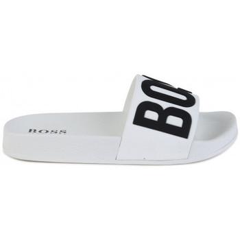 Chaussures Claquettes BOSS Claquette junior HUGO  blanche J29202 Blanc