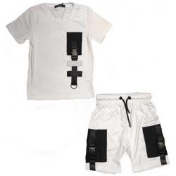 Vêtements Enfant Ensembles enfant Boom Kids Ensemble short et tee shirt junior réflehissant blanc  BL-621-1 Blanc