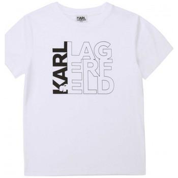 Vêtements Enfant T-shirts & Polos Karl Lagerfeld Tee shirt junior  blanc Z25253 Blanc