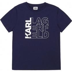Vêtements Enfant T-shirts & Polos Karl Lagerfeld Tee shirt junior  bleu marine Z25253 Bleu