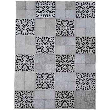 Maison & Déco Tapis Unamourdetapis Tapis kilim Carreau De Ciment Cuir Noir 120x170 cm Noir