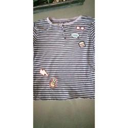 Vêtements Garçon T-shirts manches courtes Kiabi T-shirt rayé col tunisien Bleu