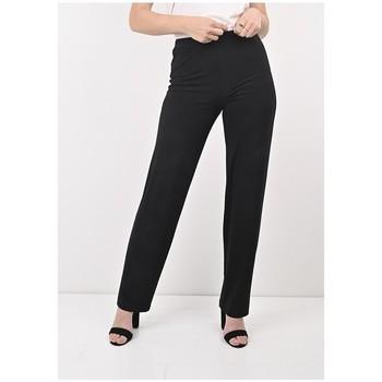 Vêtements Femme Pantalons Georgedé Pantalon Clara Droit en Jersey Noir Noir