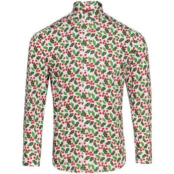 Vêtements Homme Chemises manches longues Christmas Shop CS001 Blanc/ houx