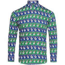Vêtements Homme Chemises manches longues Christmas Shop CS001 Bleu/ père noël