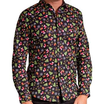 Vêtements Homme Chemises manches longues Christmas Shop CS001 Noir/ motifs
