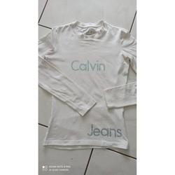 Vêtements Femme T-shirts manches longues Calvin Klein Jeans T-shirt neuf strass taille XS Blanc