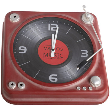 Maison & Déco Horloges Retro Pendule métal Vieille platine vinyle Rouge