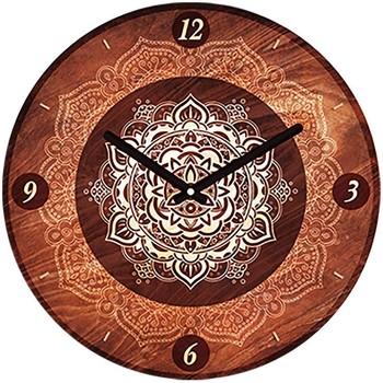 Maison & Déco Horloges Indiens D'amérique Pendule ronde Boho 28 cm Marron