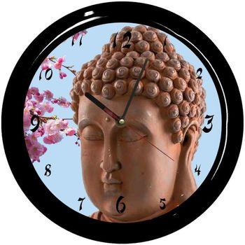 Maison & Déco Horloges Zen Et Ethnique Pendule ronde Bouddha Cbkreation fond bleu Multicolore