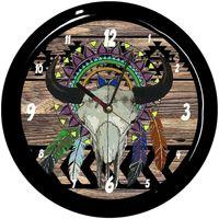 Maison & Déco Horloges Indiens D'amérique Pendule ronde crâne de buffle boho Cbkreation Multicolore