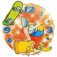 Maison & Déco Horloges Dessins Animés Pendule ronde en mdf Bart Simpson Jaune