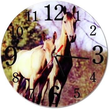 Maison & Déco Horloges L'univers Du Cheval Pendule ronde en verre Chevaux Multicolore