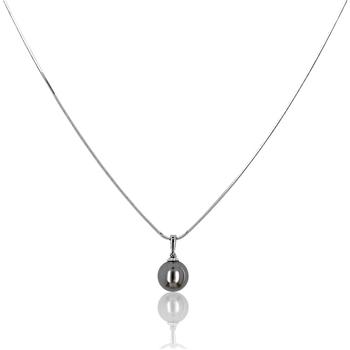 Montres & Bijoux Femme Puces En Or 375/1000 Blanc Cleor Collier  en Argent 925/1000 et Perle Synthétique Grise Blanc