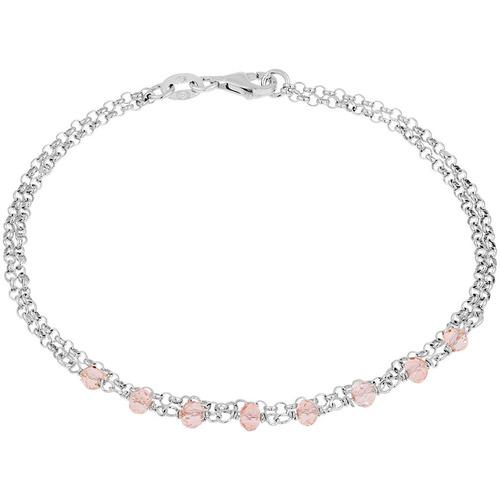 Montres & Bijoux Femme Bracelets Cleor Bracelet  en Argent 925/1000 et Verre Rose Blanc