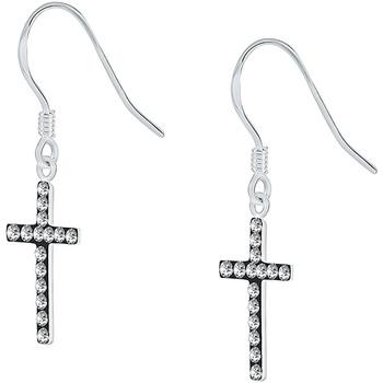Montres & Bijoux Femme Boucles d'oreilles Cleor Boucles d'oreilles  en Argent 925/1000 et Cristal Noir Blanc