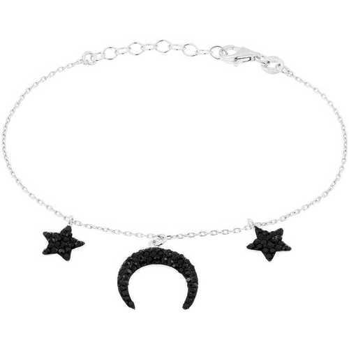 Montres & Bijoux Femme Bracelets Cleor Bracelet  en Argent 925/1000 Blanc et Cristal Noir Blanc