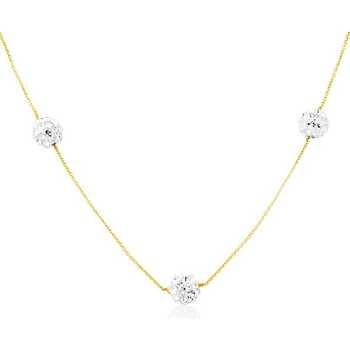 Montres & Bijoux Femme Colliers / Sautoirs Cleor Collier  en Or 375/1000 Jaune et Cristal Jaune