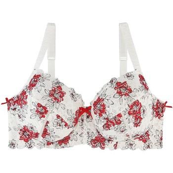 Sous-vêtements Femme Corbeilles & balconnets Pommpoire Soutien-gorge grand maintien ivoire/rouge Elena Blanc