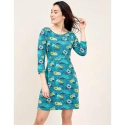 Vêtements Femme Robes courtes La Fiancee Du Mekong Robe imprimée manches 3/4 BHATI Bleu turquoise