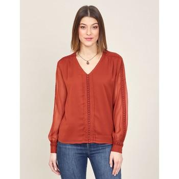 Vêtements Femme Tops / Blouses La Fiancee Du Mekong Blouse dentelle ZOEN Rouge merlot