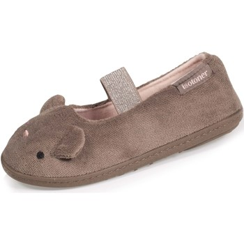 Chaussures Fille Chaussons Isotoner Chaussons ballerines 3d Taupe