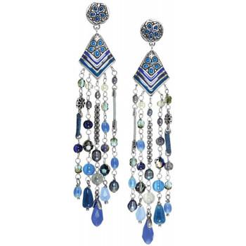 Montres & Bijoux Femme Boucles d'oreilles Franck Herval Boucles d'oreilles  LOREEN - *longues BO 5 rangs 12--61741 Bleu