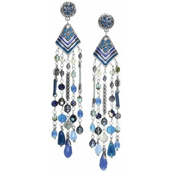 Bijoux Franck Herval Boucles d'oreilles  LOREEN - *longues BO 5 rangs 12--61741 Bleu 350x350