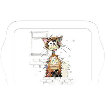 Maison & Déco Vides poches Le Monde Des Animaux Mini plateau rectangulaire KOOK - Le Chat Ziggy Blanc