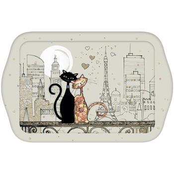 Maison & Déco Vides poches Le Monde Des Animaux Petit plateau rectangulaire BUG ART - Chats Amoureux Beige