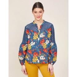Vêtements Femme Chemises / Chemisiers La Fiancee Du Mekong Chemisier imprimée coton et dentelle SETO Bleu azur