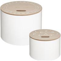 Maison & Déco Malles, coffres de rangements Atmosphera Lot de 2 tables de rangement rondes blanc Blanc