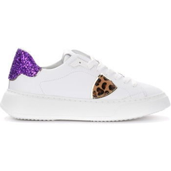 Chaussures Femme Baskets basses Philippe Model Sneaker Temple in bianca con spoiler in glitter viola Blanc