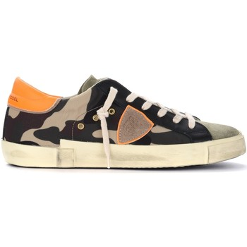 Chaussures Homme Baskets basses Philippe Model Sneaker Paris X in tessuto camouflage con spoiler fluo Multicolor