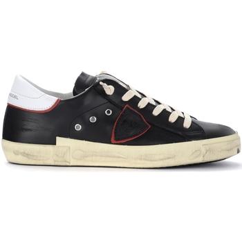 Chaussures Homme Baskets basses Philippe Model Sneaker Paris X in pelle nera con spoiler bianco Noir