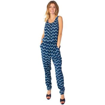 Vêtements Femme Combinaisons / Salopettes Coton Du Monde -Pantalon-Mallaury Bleu