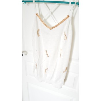Vêtements Femme Débardeurs / T-shirts sans manche Naf Naf Top blanc détails pailletés dorés Blanc