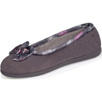 Chaussures Femme Chaussons Isotoner Chaussons ballerines nœud plumes Gris
