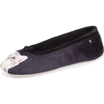 Chaussures Femme Chaussons Isotoner Chaussons ballerines imprimé chat Noir