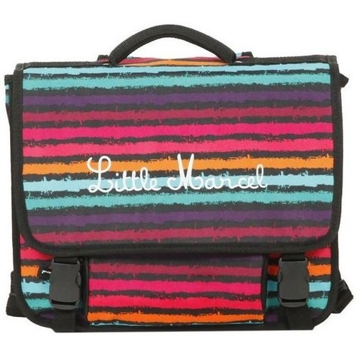 Sacs Fille Cartables Little Marcel Cartable 38cm  Noir REGULAR PAINT Rayures Multicolores  REGULAR Multicolore