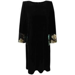 Vêtements Femme Robes Georgedé Robe Louna Evasée en Velours et Floquée Satin Vert Noir
