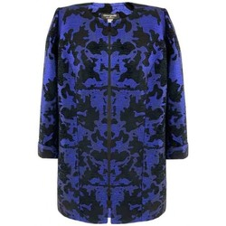 Vêtements Femme Manteaux Georgedé Manteau Nath en Jacquard Noir et Bleu Marine Bleu