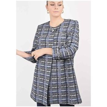 Vêtements Femme Manteaux Georgedé Manteau Vicky en Jacquard Bleu et Noir Bleu