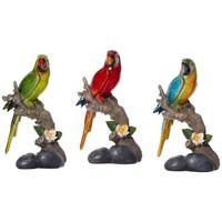 Maison & Déco Statuettes et figurines Chehoma Set 3 Ara Macao sur branche 07x10x17cm Rouge Vert Bleu
