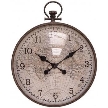 Maison & Déco Horloges Chehoma Horloge mappemonde convexe 69x20x55cm Marron/beige