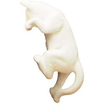 Maison & Déco Statuettes et figurines Chehoma Petit chat porcelaine 13x6cm Blanc cassé