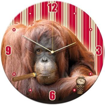 Maison & Déco Horloges Le Monde Des Animaux Pendule ronde verre Singe Rouge