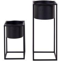 Maison & Déco Vases, caches pots d'intérieur House Nordic Lot de 2 pots de fleur en métal Marla Noir